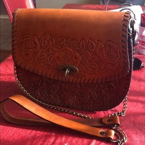 Learher hand tooled crossbody bag